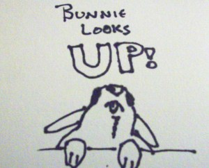 line drawing of a bunny looking up. words say bunnies look up
