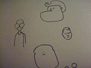 Small doodles, spaced far apart and poorly rendered.